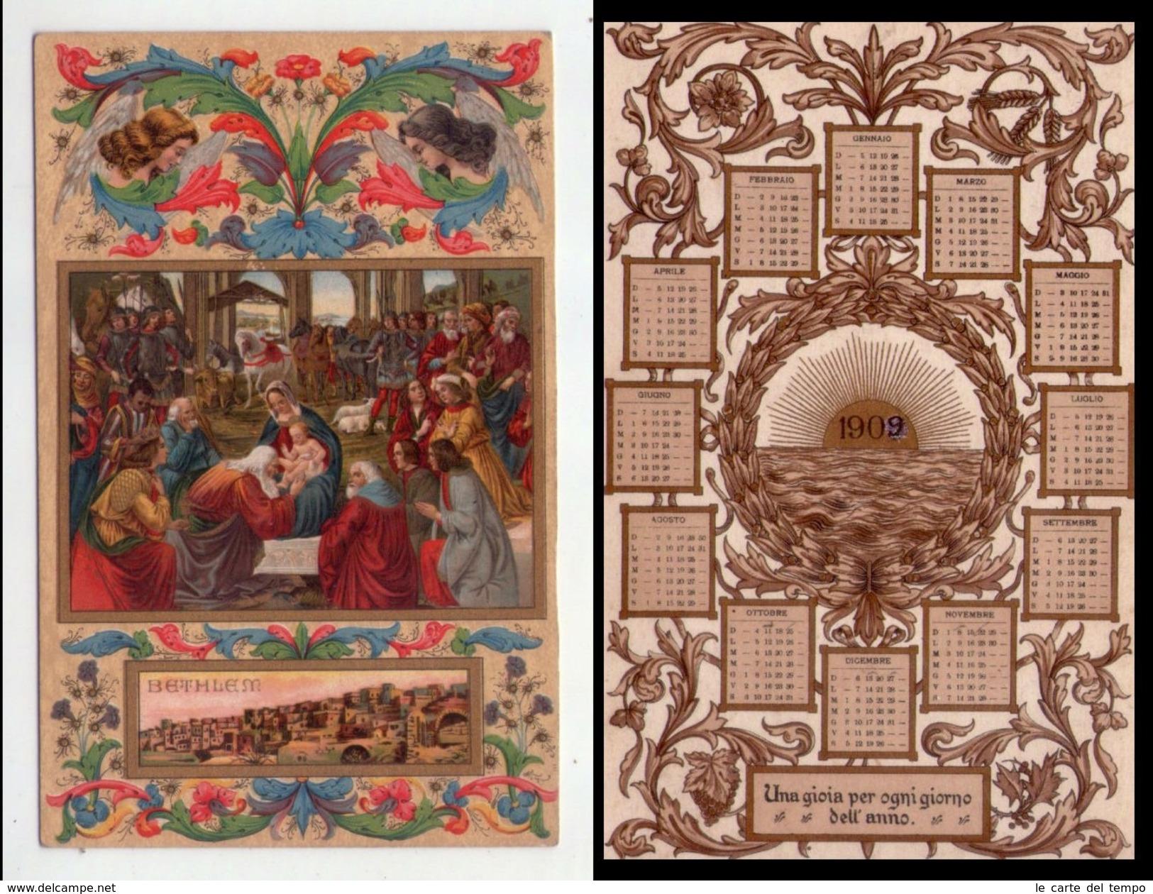 Cartolina/calendario Sacra Famiglia - Natività - Bethlem. 1909 - Calendari