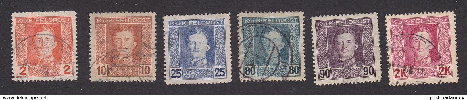 Austria, Scott #M50, M54, M57-M58, M63-M65, Used, Emperor Karl I Military Stamps, Issued 1917 - Austria