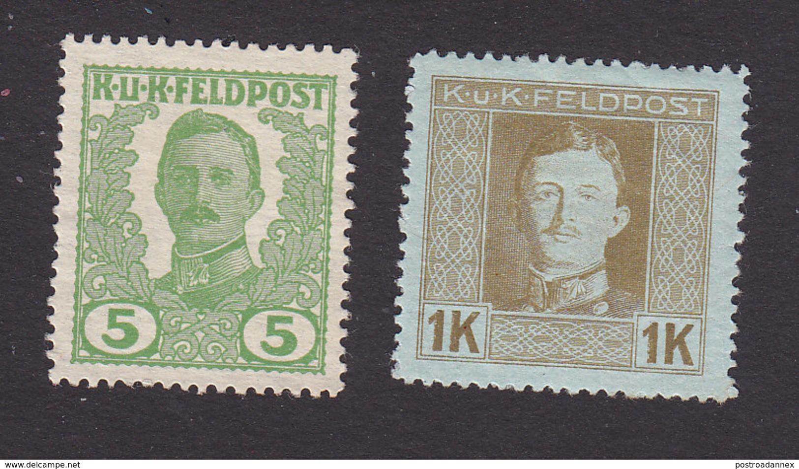 Austria, Scott M72, M82, Mint No Gum/Hinged, Emperor Karl I Military Stamps, Issued 1918 - Austria