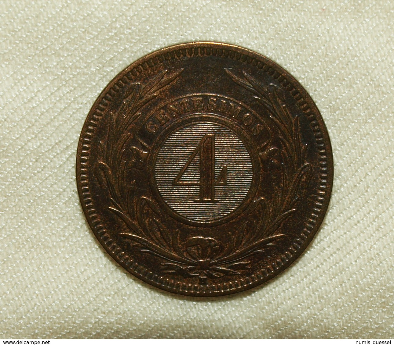 Uruguay, 1869 H, Edition 20 G, 4 Centesimos Unc - Uruguay