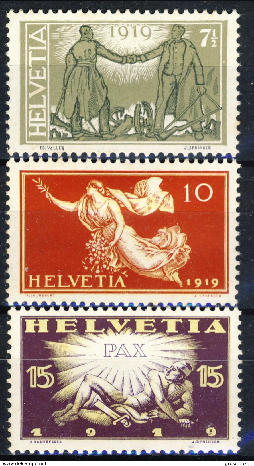 Svizzera 1919 Serie N. 170-172 Pace MNH Cat € 25 - Nuovi