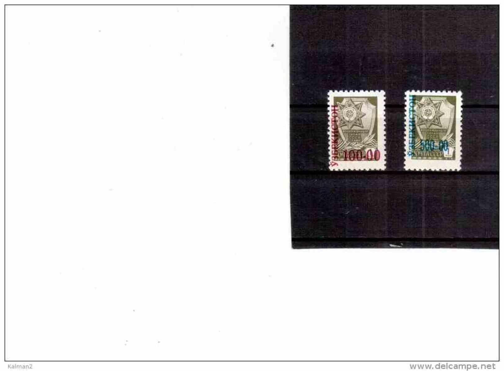 XX1471   -  UZBEKISTAN   -   SERIE ORDINARIA  RUSSIA SOPRASTAMPATI ** MNH  /  CAT.UNIFICATO NR. 24/25 - Uzbekistan