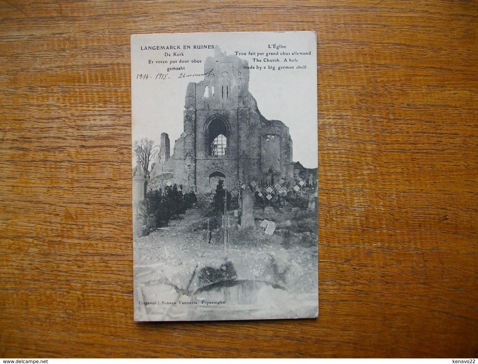 Belgique , Langemarck En Ruines , L'église , Trou Fait Par Grand Obus Allemand - Langemark-Poelkapelle