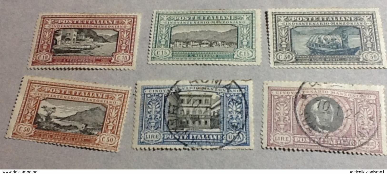 27293) REGNO D'ITALIA 1923 MANZONI SERIE COMPLETA 1 Lira E 5 Lire Usati - 1861-78 Vittorio Emanuele II