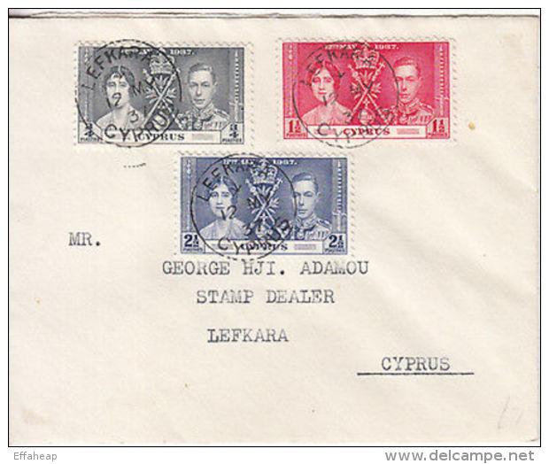 Cyprus: Coronation Cover, Lefkara-George Adamou, Stamp Dealer, Lefkara, 12 My 37 - Cyprus (...-1960)