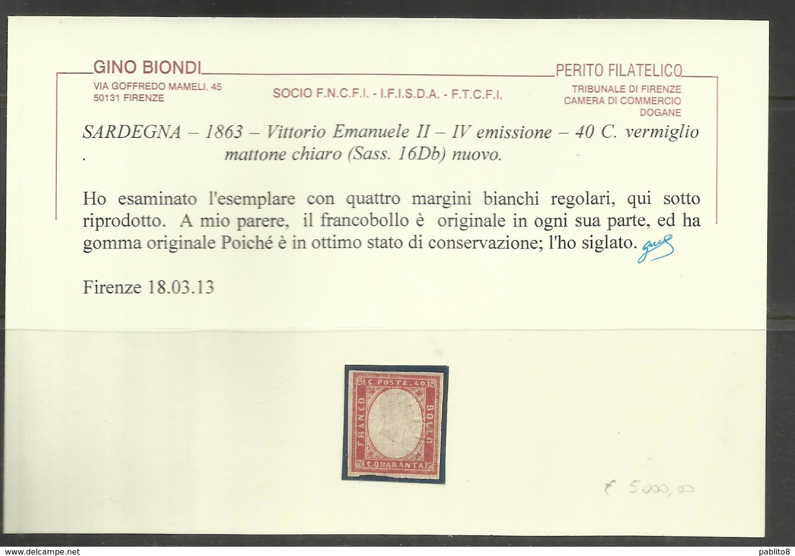 ANTICHI STATI SARDEGNA 1861 VITTORIO EMANUELE IV EMISSIONE CENT 40 40c VERMIGLIO MATTONE CHIARO MLH - Sardegna
