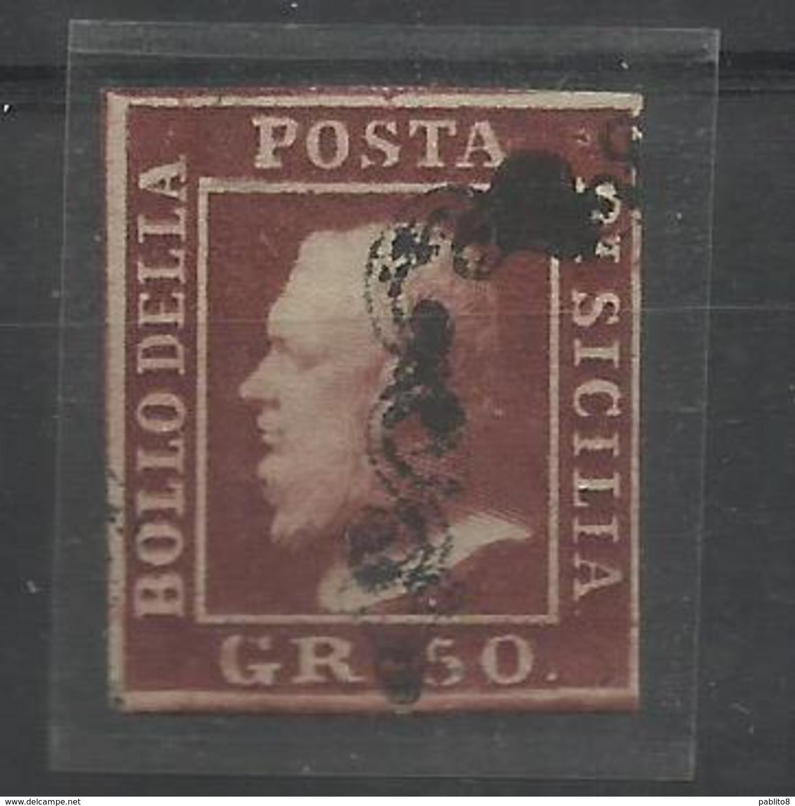 ANTICHI STATI SICILIA 1859 GRANA 50 50gr LACCA BRUNO USATO USED OBLITERE' - Sicilia