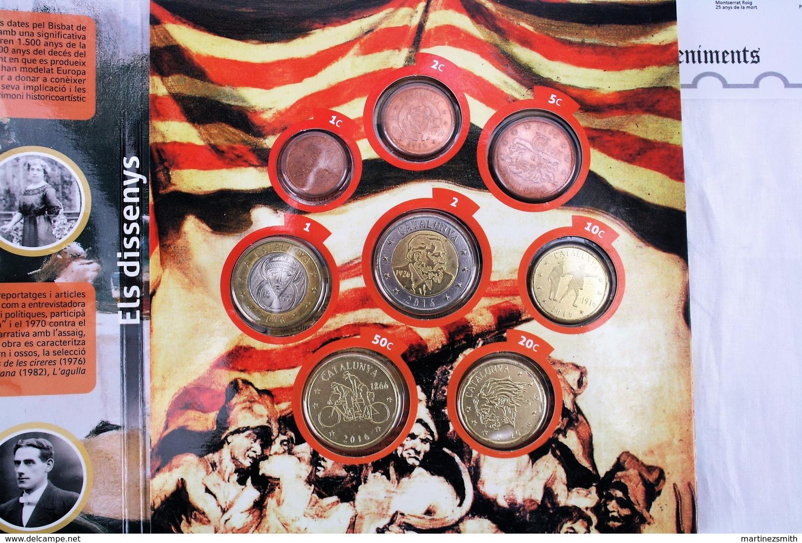 Catalunya 2016 Private Proof Euro Coin Set + Commemorative 2 Euro Coin Card & Stamps - Essais Privés / Non-officiels