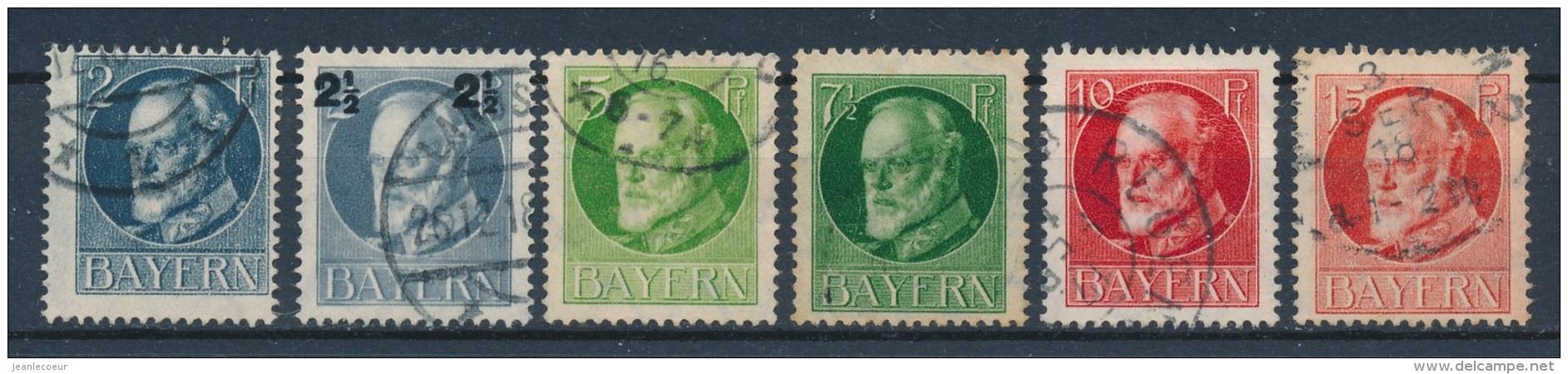 Beieren/Bavaria/Baviere/Bayern 1916 Mi: 110A-115A Yt: 110-115 (Gebr/used/obl/o)(255) - Bavière