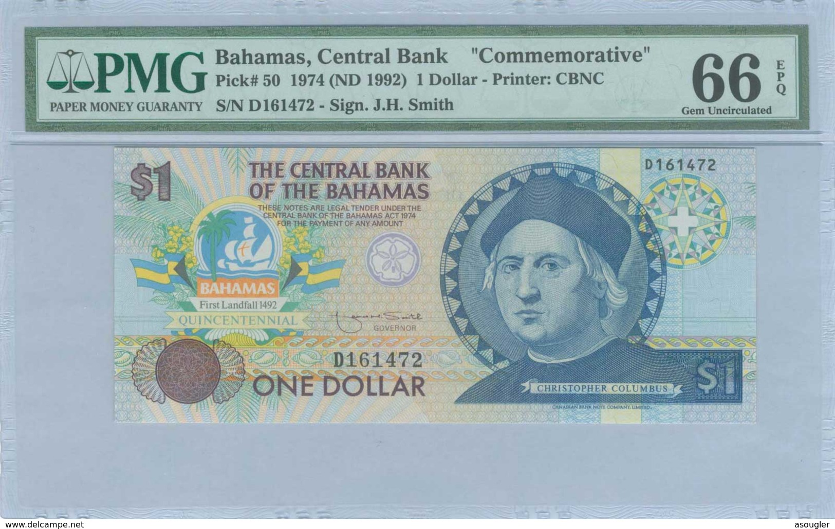 BAHAMAS: 1 Dollar (ND 1992) PMG 66 EPQ - Bahamas