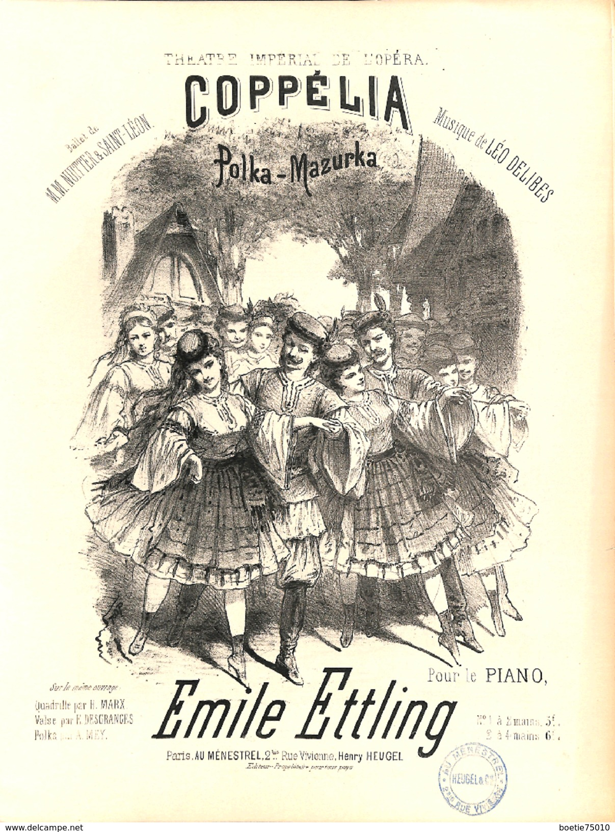 Coppélia, Polka-mazurka. Partition Ancienne, Grand Format, Couverture Illustrée. - Noten & Partituren
