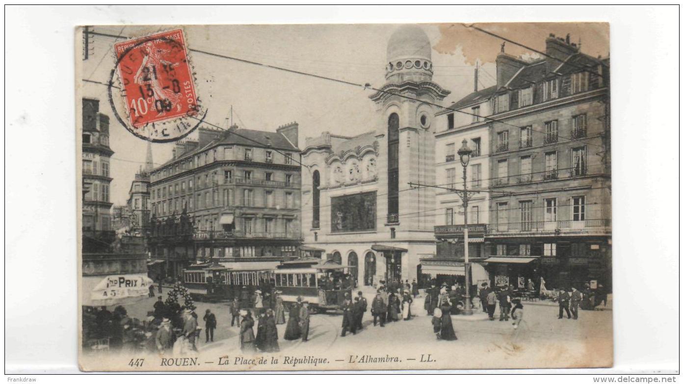Postcard - Rouen - La Place De La Republique - Posted 13th Aug 1909 Good - Unclassified