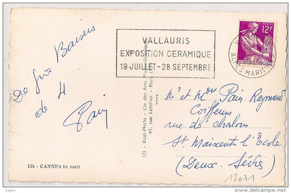 VALLAURIS Alpes Maritimes  Sur CP 12F Moisonneuse. EXPOSIOTION CERAMIQUE..... - Oblitérations Mécaniques (flammes)