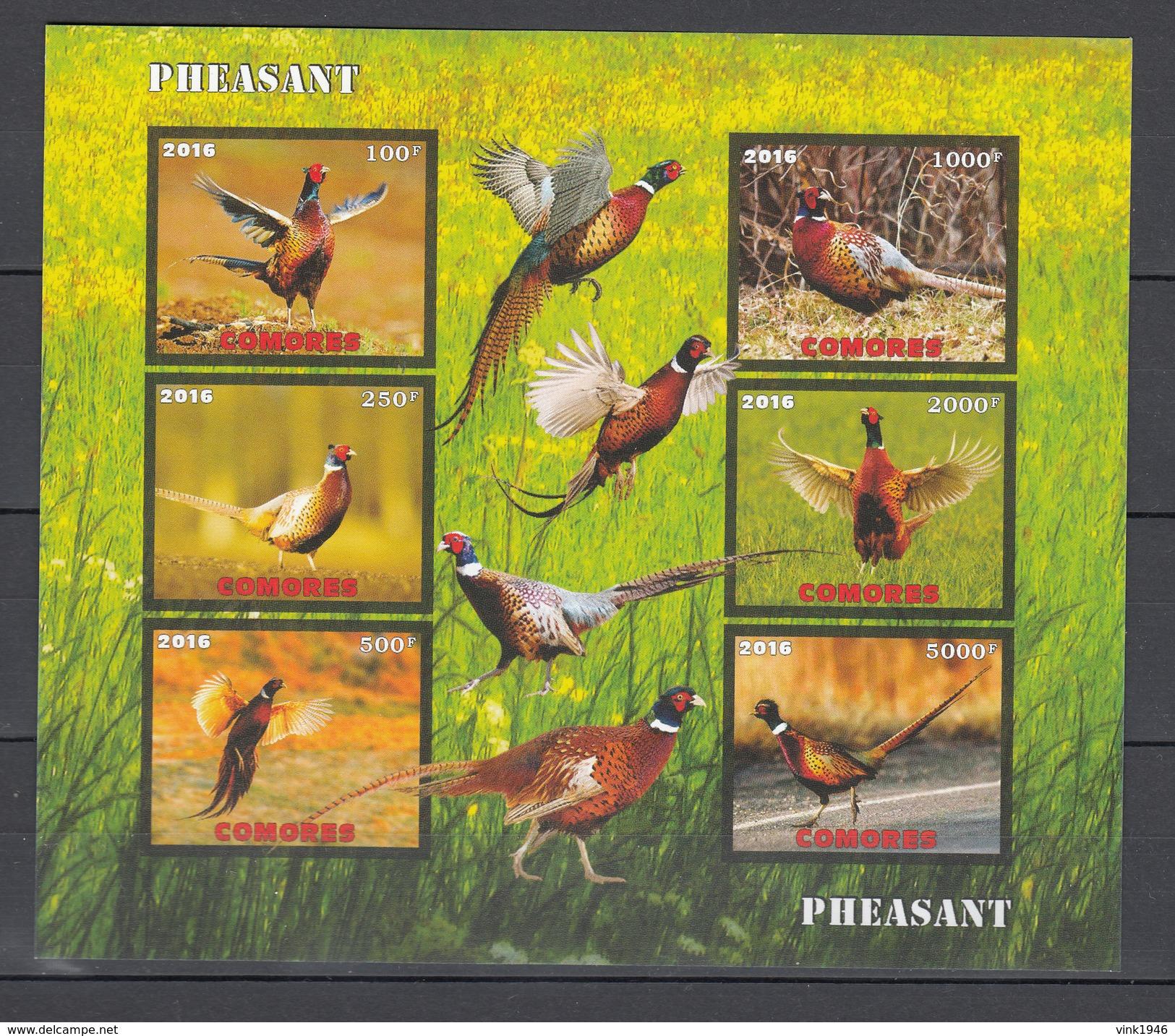 Comores 2016,6V In Block,IMP,birds,pheasant,vogels,vögel,oiseaux,pajaros,uccelli,aves,MNH/Postfris(L2985) - Gallinacées & Faisans