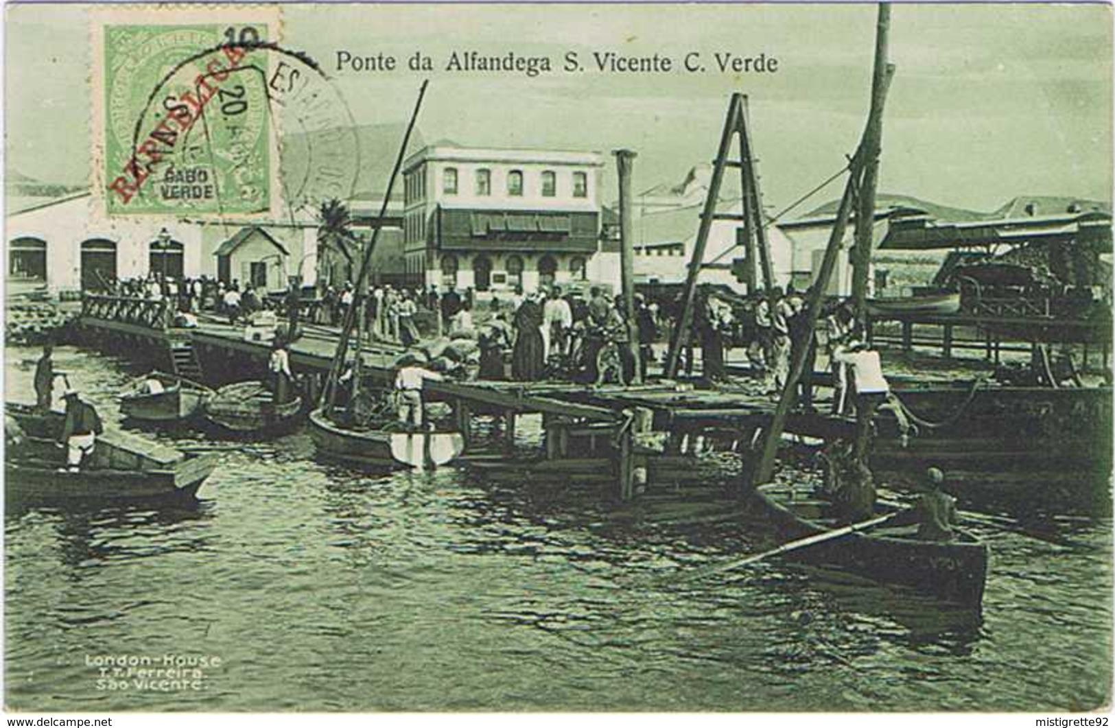 Cabo Verde São Vicente Ponte Da Alfandega 1912. Noir Et Blanc. - Cap Vert