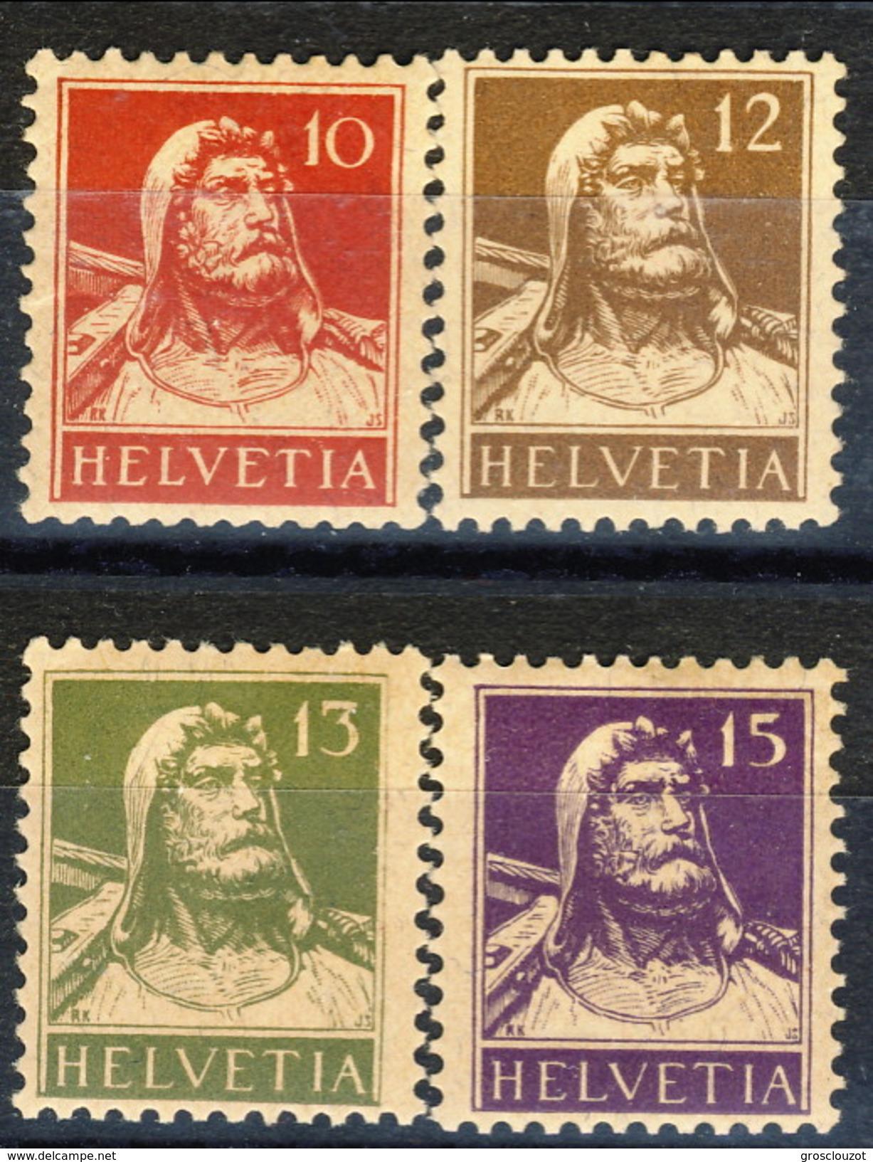 Svizzera 1914 - 18 Serie N. 138-141A (violetto Scuro) MNH Cat. € 128 - Nuovi
