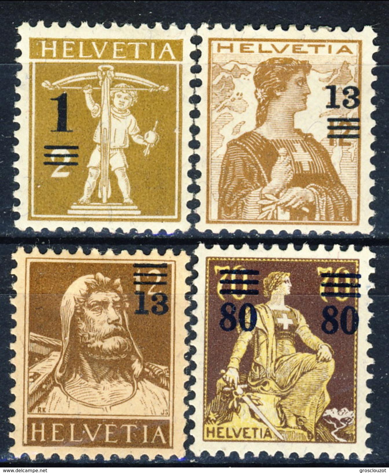 Svizzera 1915 Serie N. 145-148 MNH E MLH Cat. € 50 - Suisse