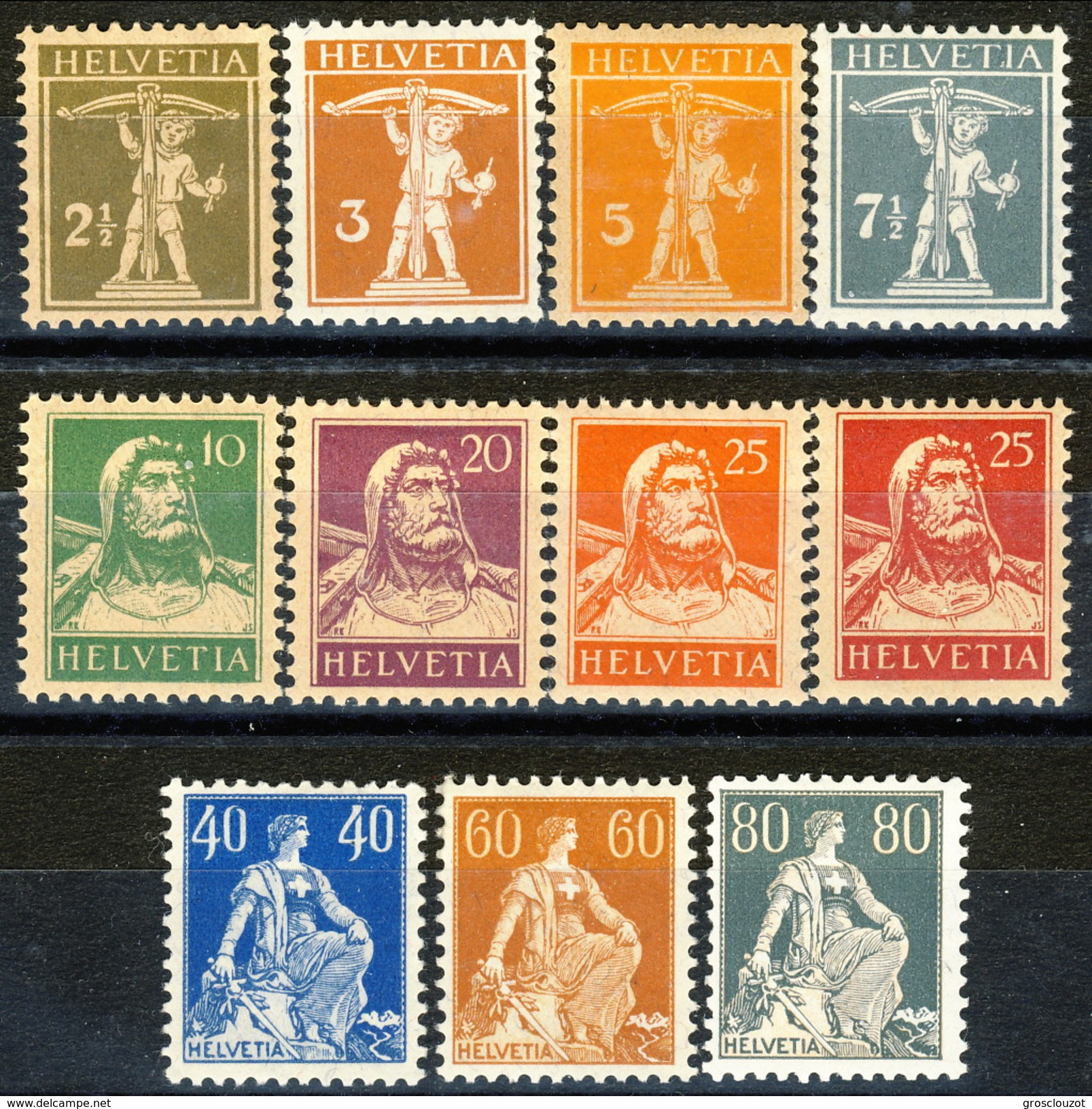 Svizzera 1916 - 22 Serietta N. 157 - 166 (11 Valori, Carta Ordinaria) MVLH Cat. € 180 - Nuovi
