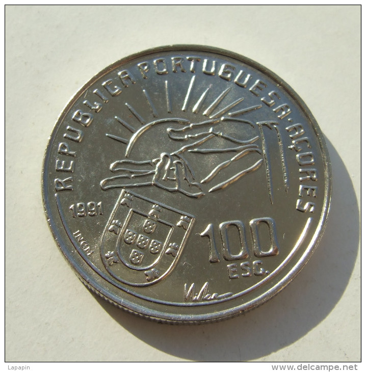 Lp PORTUGAL - 1991 - 100 Escudos - Antero De Quental (Poet) - KM#664 (Krause Portugal) = KM#46 (Krause Azores) - Azores