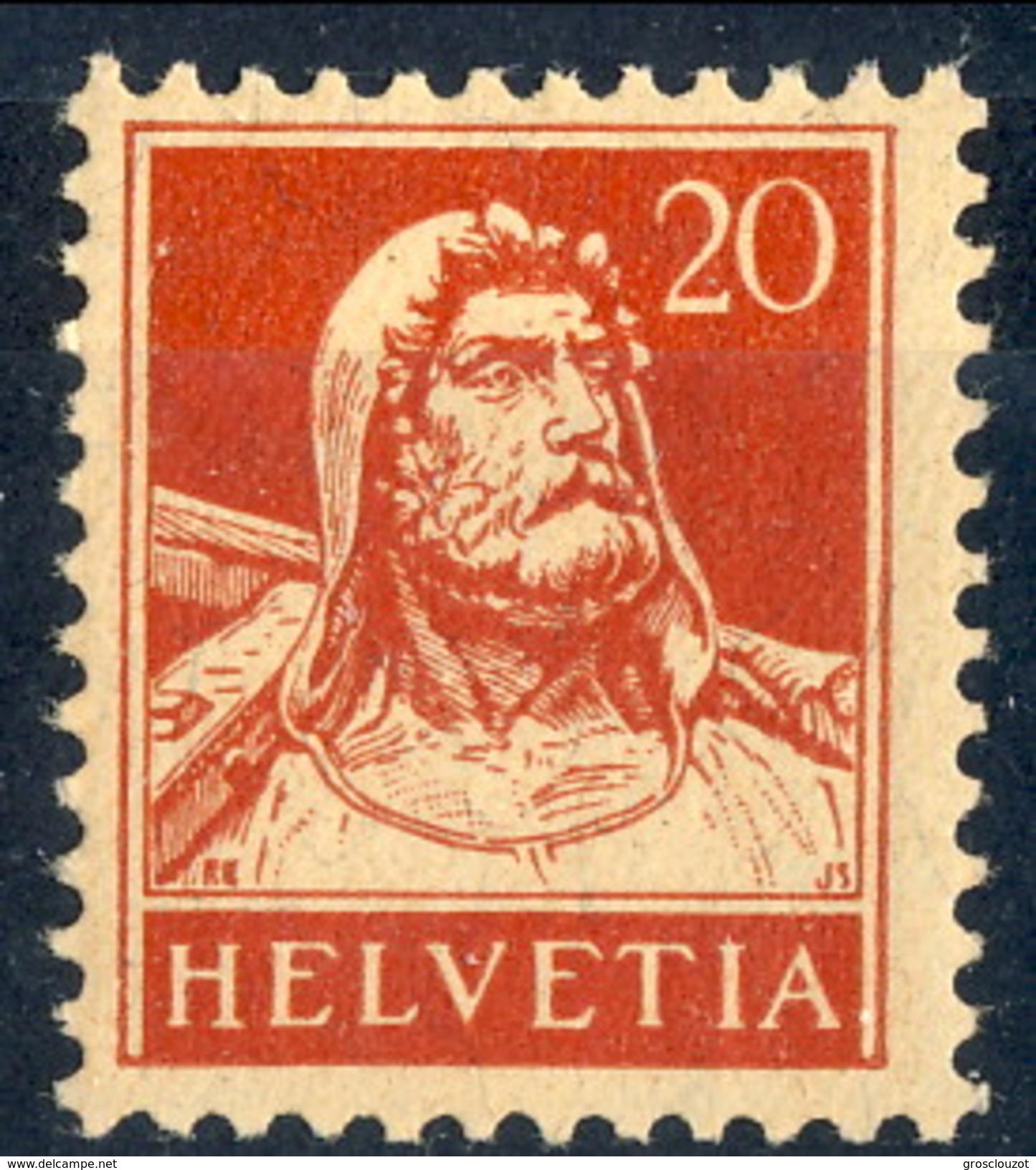Svizzera 1924 - 28 N. 203A C. 20 Carminio Carta Goffrata MVLH Cat. € 25 - Svizzera