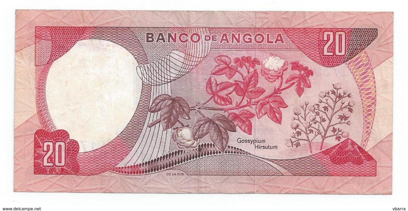 Bank Of Angola (colonial Period) 20 Escudos - Effigy Marechal Carmona - 1972 Banknote Billet De Banque Billete De Banco - Angola