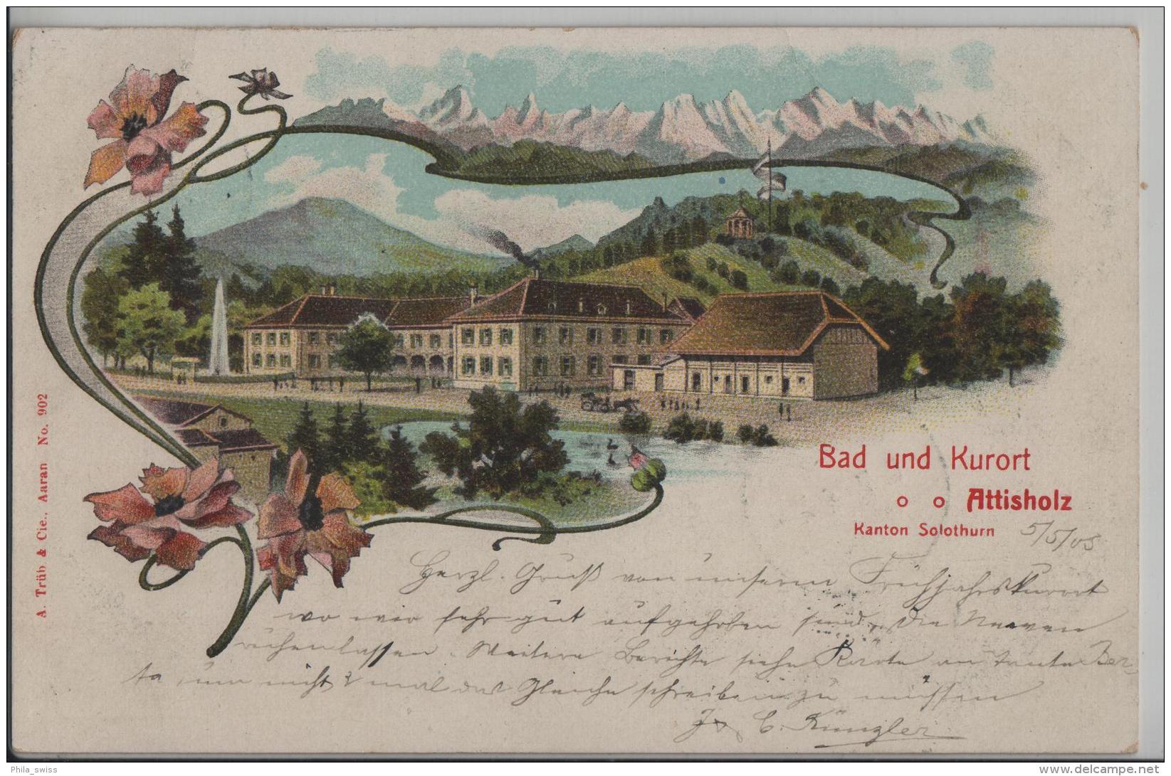 Bad Und Kurort Attisholz Kanton Solothurn - Litho A. Trüb & Cie. No. 902 (Schnappszahl 5.5.05) - SO Soleure