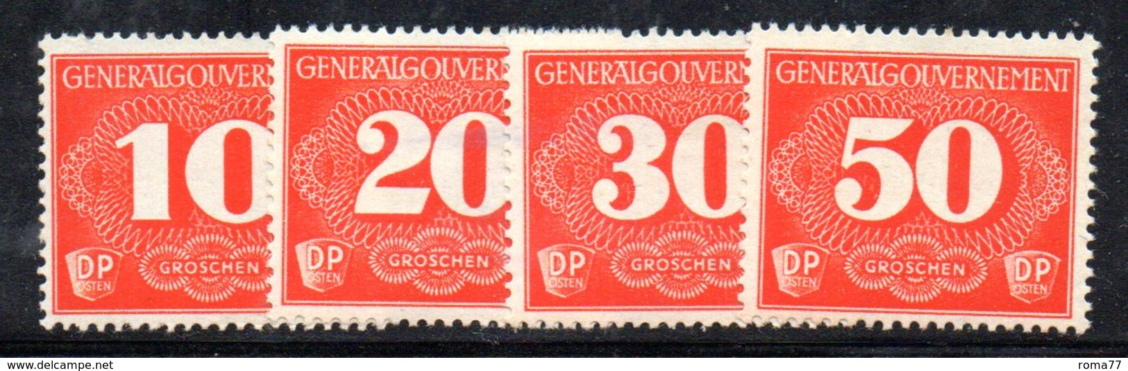 Y1023 - POLONIA OCC.  TEDESCA 1940 , Segnatasse  *  Yvert   1/4 - 1939-44: II Guerra Mondiale