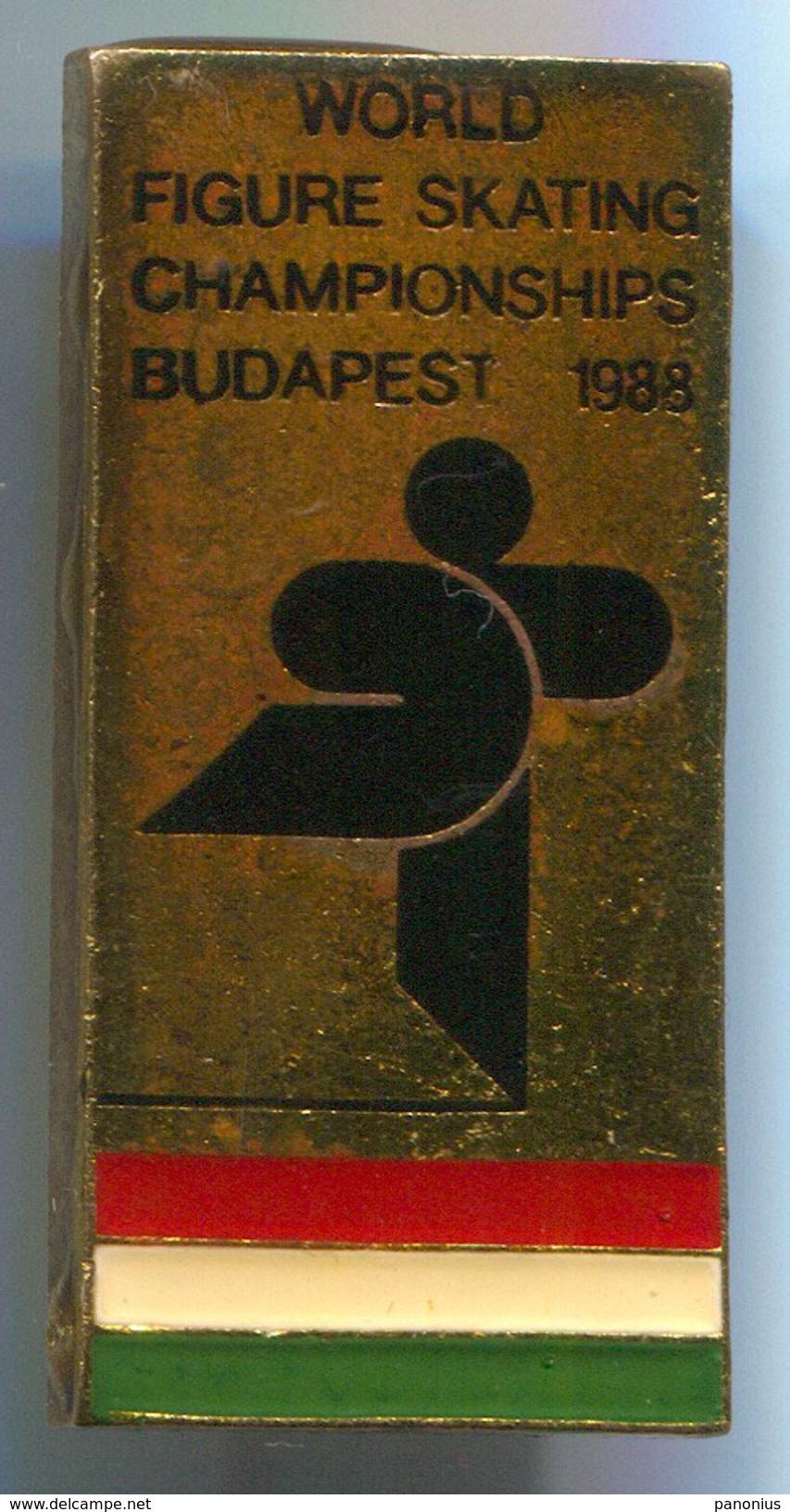 FIGURE SKATING - WORLD CHAMPIONSHIP, Budapest, Hungary, 1988. Vintage Pin, Badge, Abzeichen, 37x18mm - Skating (Figure)