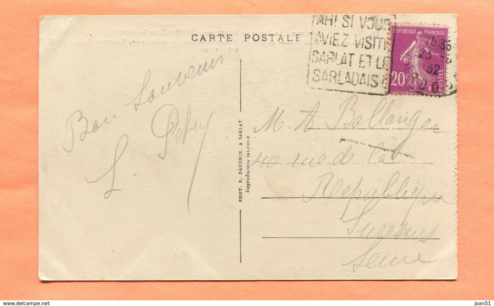 M2  DAGUIN  TEXTE A GAUCHE  SARLAT SUR SEMEUSE LILAS 20 C 1932 - Postmark Collection (Covers)
