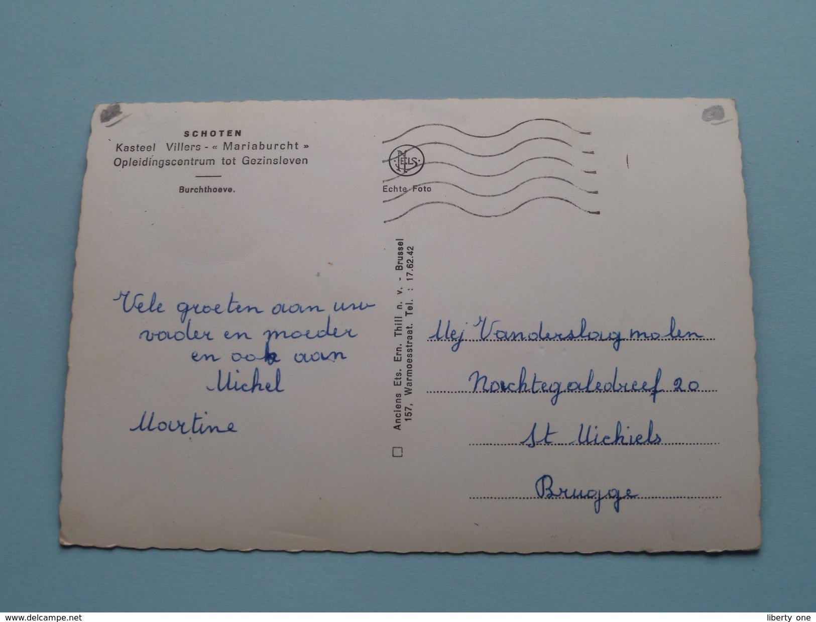 """Kasteel Villers """" MARIABURCHT """" Opleidingscentrum Tot Gezinsleven / Burchthoeve / Anno 19?? ( Zie Foto Details ) !! - Schoten"""