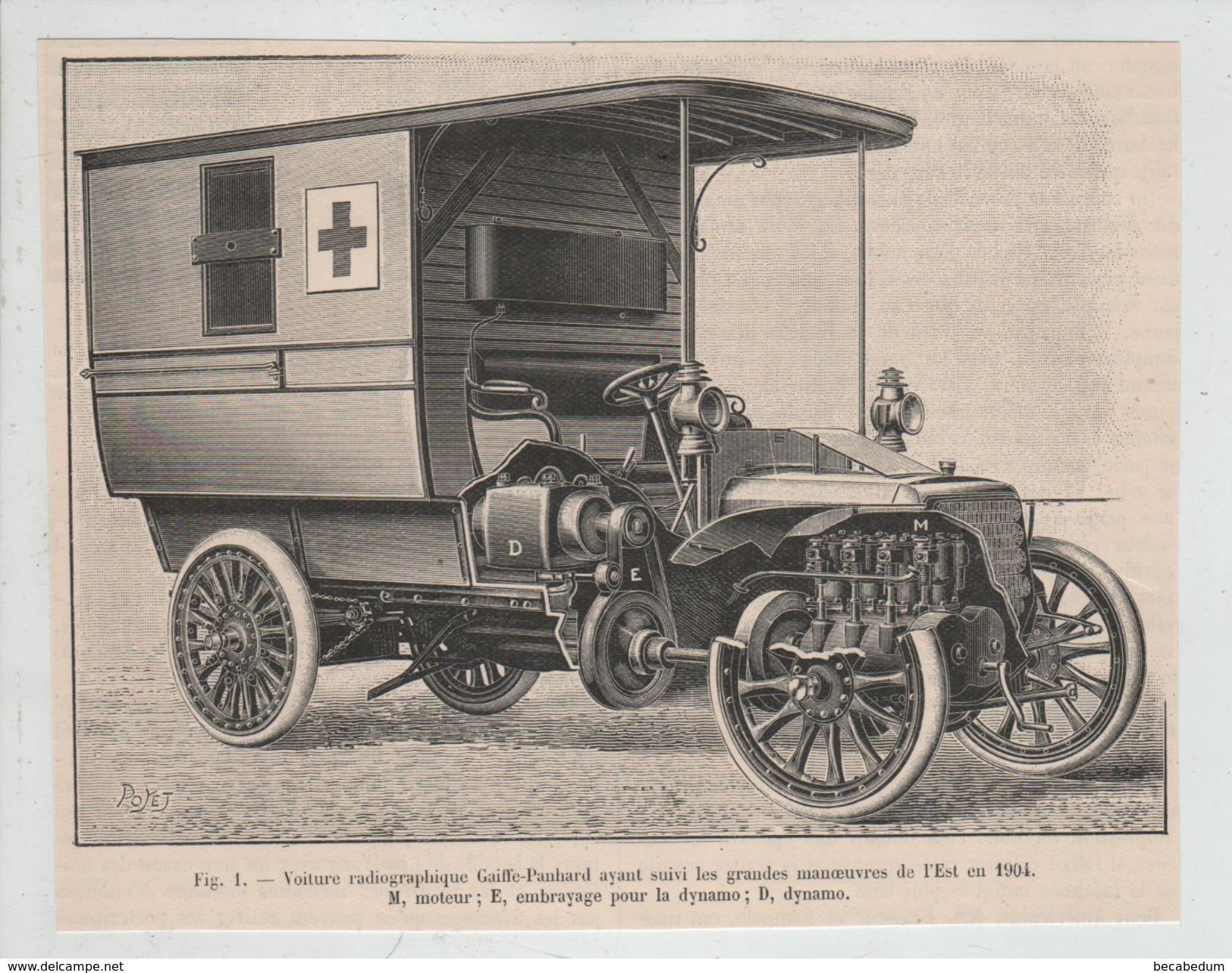 Voiture Radiographique Gaiffe Panhard Manoeuvres Est Poyet 1904 Ambulance - Radio