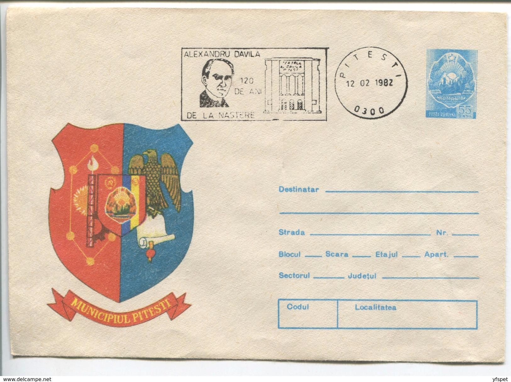 Pitesti - Municipality Coat Of Arms - Stationery (stamp : The Romanian Coat Of Arms) - Coat Of Arms