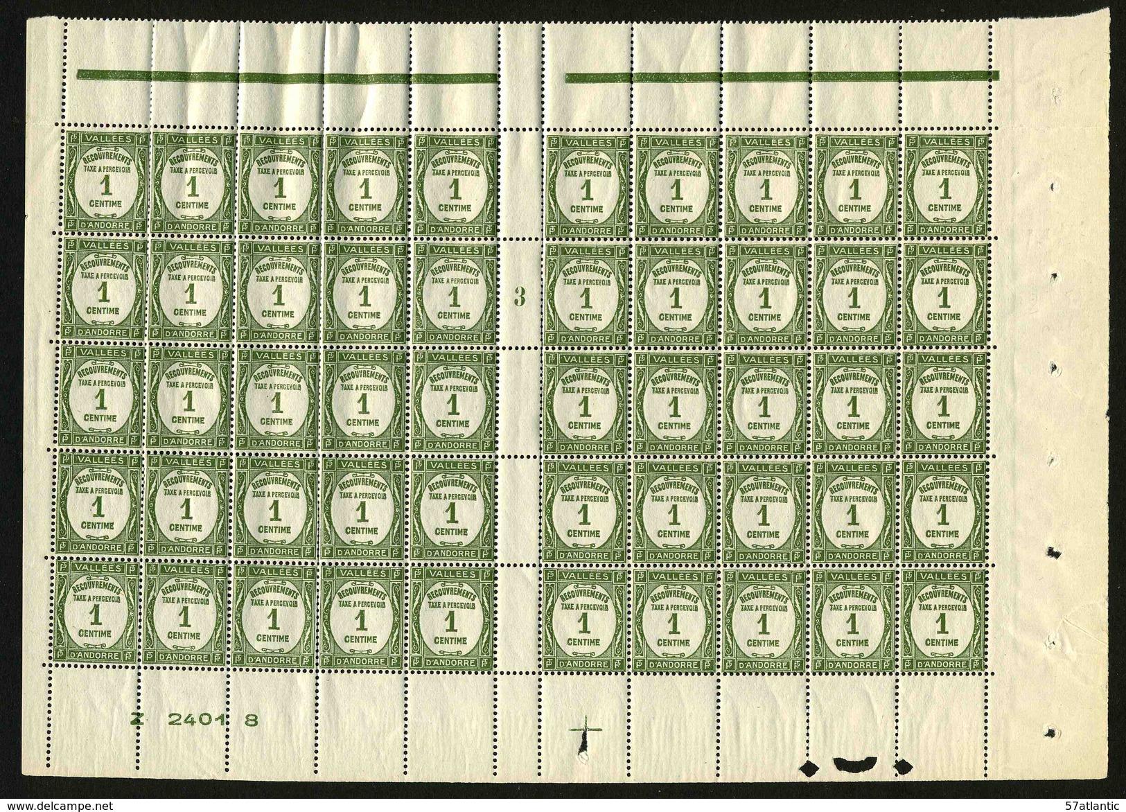 ANDORRE FRANCAIS - YT Taxe 16 ** - PANNEAU DE 50 TIMBRES ** - Timbres-taxe