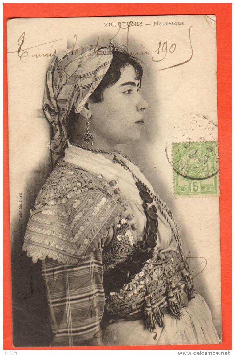 IAM-17  Tunis,  Femme Mauresque. Cachet Frontal 1905 Vers Lille FR - Tunisia