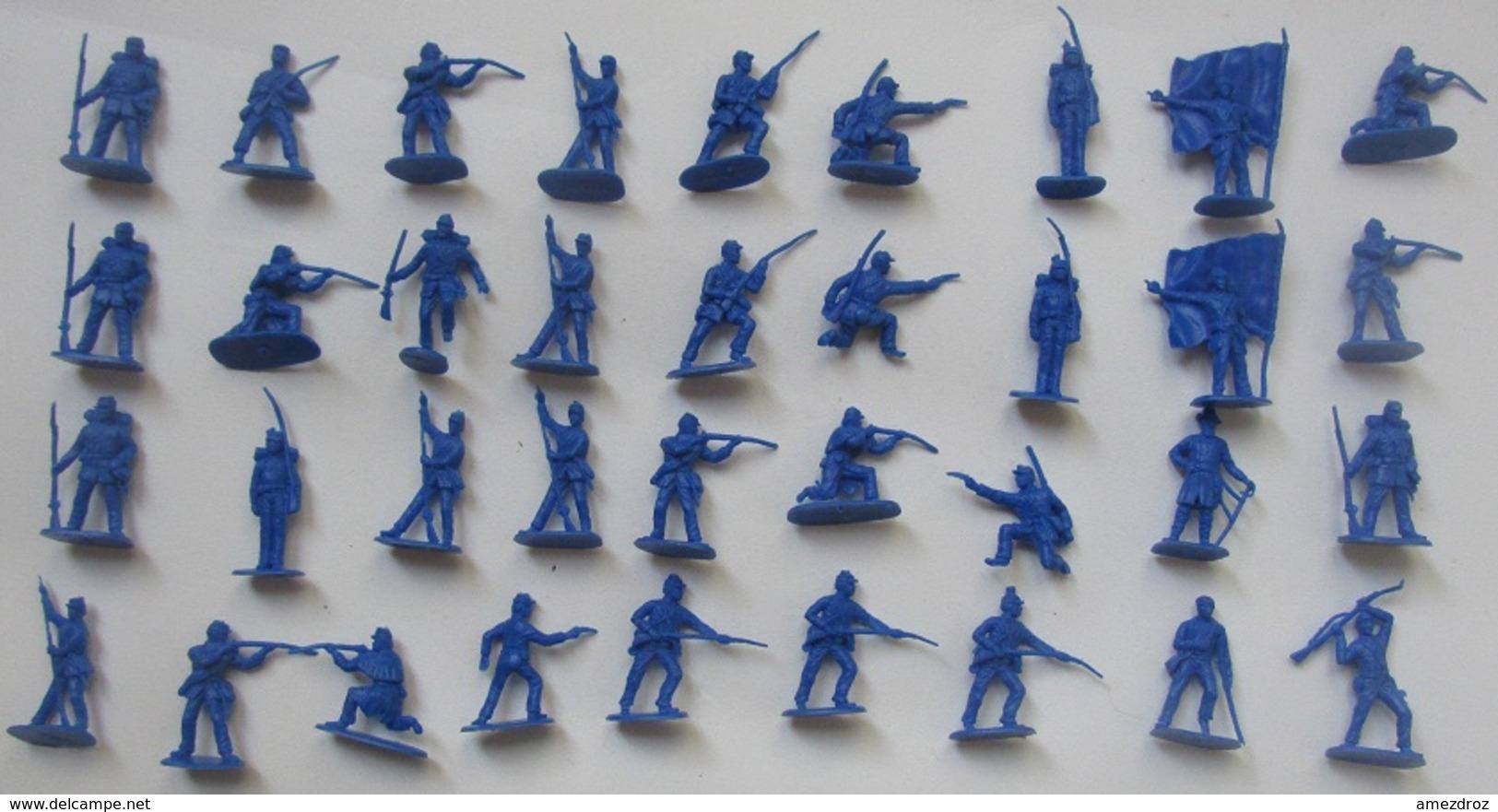Figurines Monochromes Soldat De L'Empire 1870 Ho 1/72, Soldats Divers Poses 36 Pièces - Figurines
