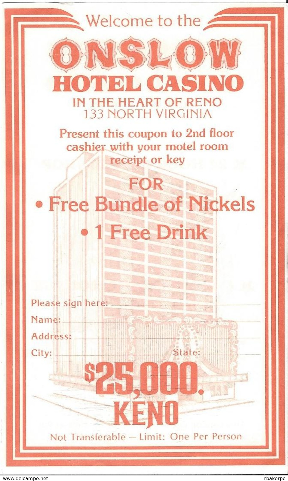Onslow Casino - Reno, NV - 3 X 5.5 Inch Paper Coupon For Free Bundle Of Nickels & 1 Free Drink - Advertising