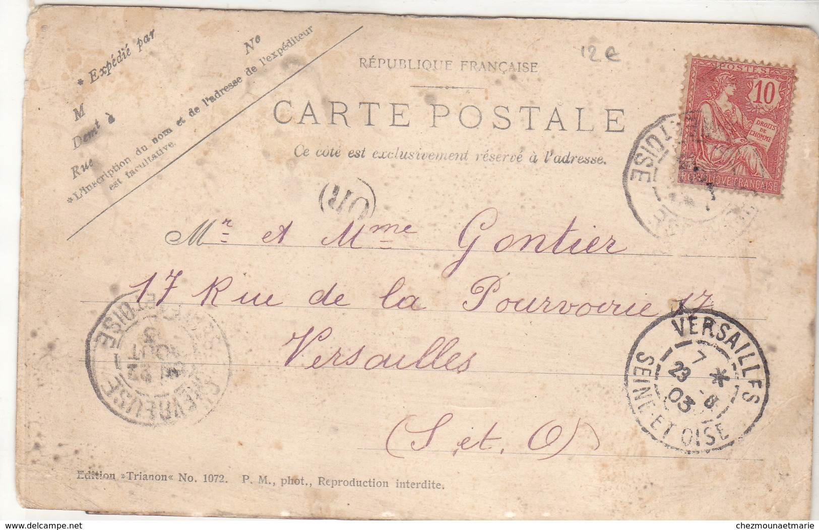 TRANSPORT DE BROUSSAILLES DANS LE DESERT - SUR UNE VOIE FERREE TIREES PAR UN MULET - GONTIER VERSAILLES - CARTE PHOTO - Cartes Postales
