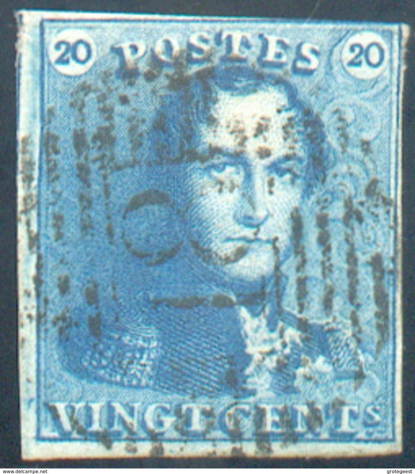 N°2 - Epaulette 20 Centimes Bleue, Tun Peu Court à Droite Sinon Margée, Obl. P.18  BINCHE  - 11662 - 1849 Epaulettes
