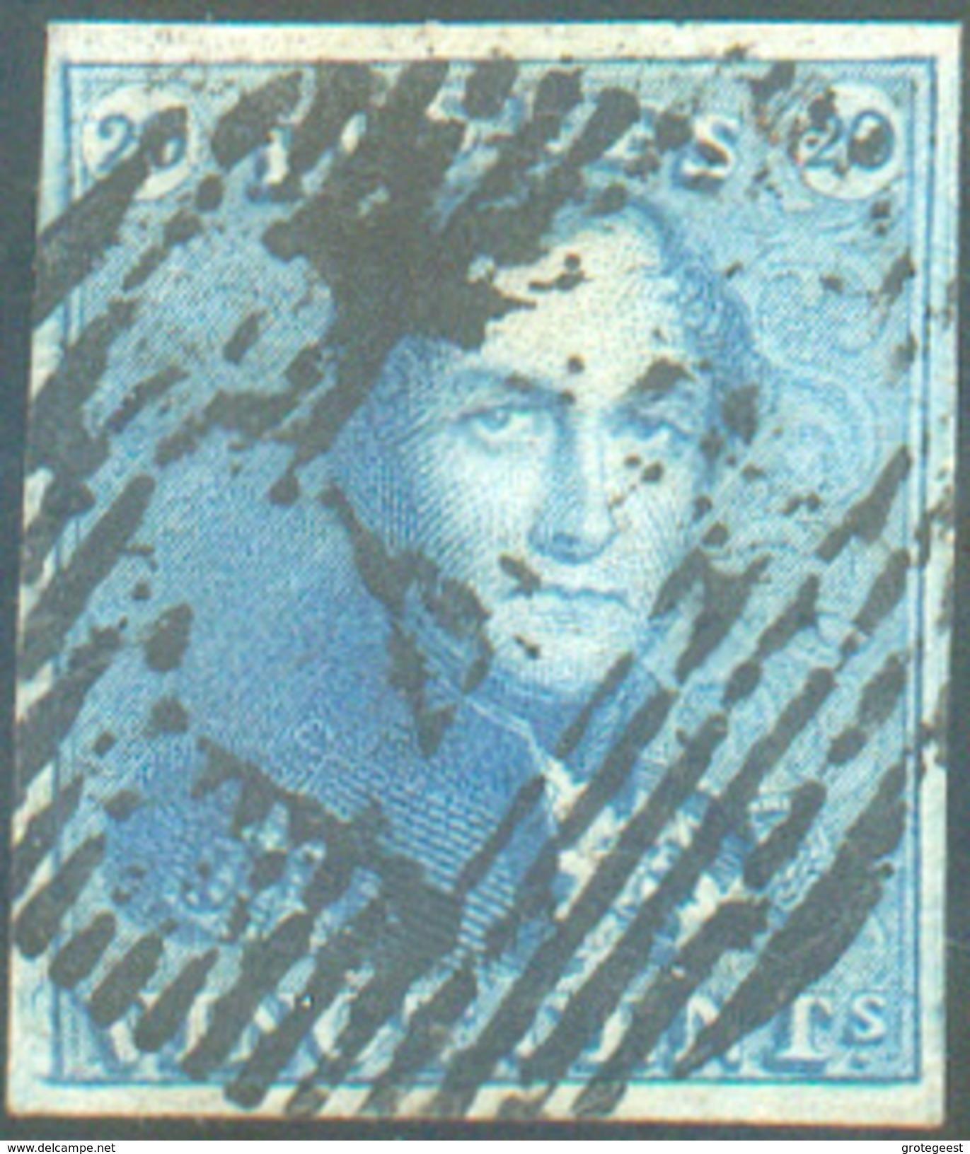 N°2 - Epaulette 20 Centimes Bleue, Très Bien Margée, Obl. P.4 ANVERS Centrale - 11675 - 1849 Epaulettes