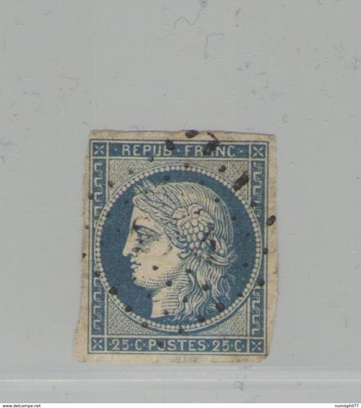 FRANCE -  Cérès N°Y&T 4 Oblit.  - 25 C Bleu -  TTB - 1849-1850 Cérès