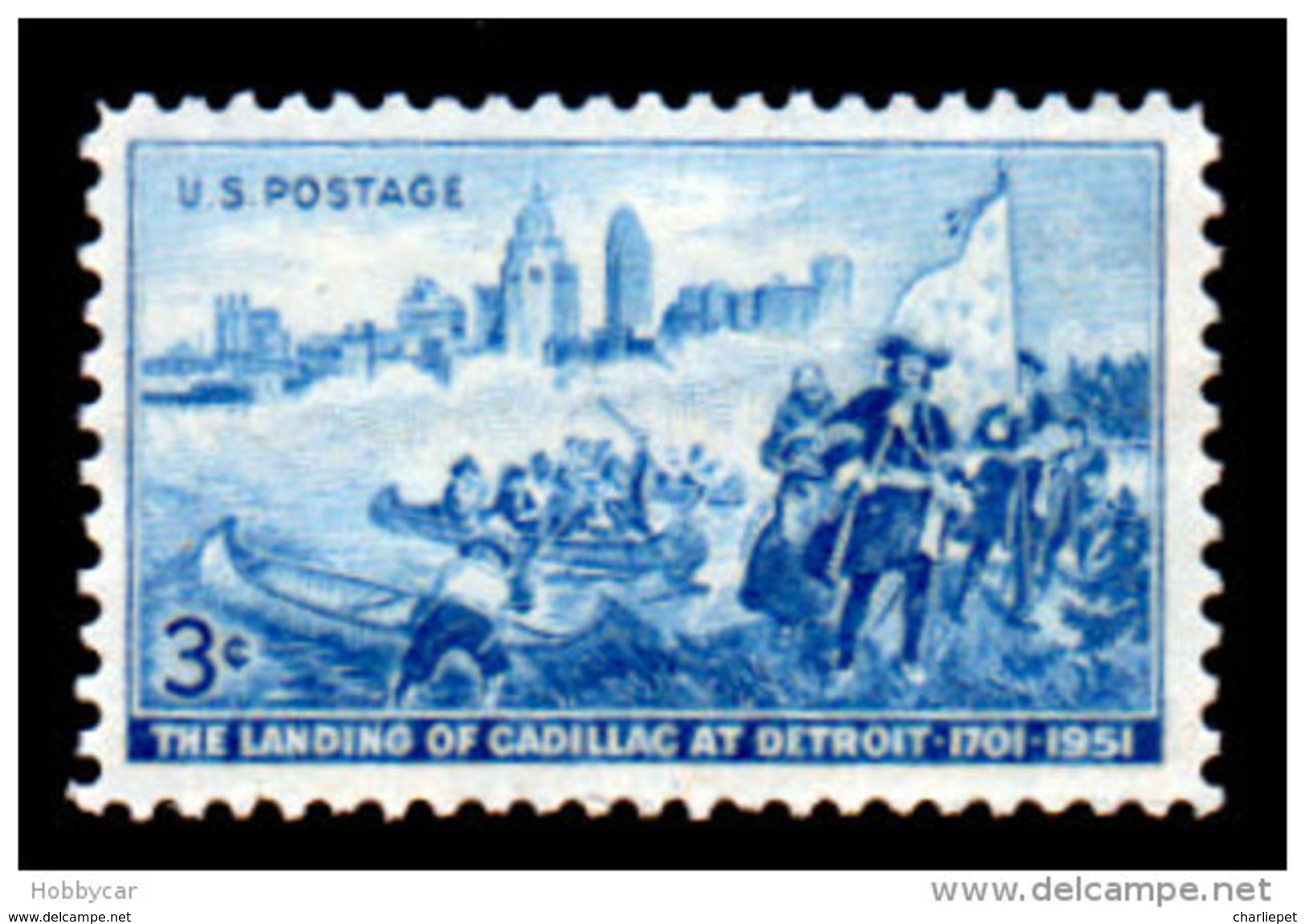 United States  1951, Scott # 1000, Cadillac Landining In Detroit , 3c MNH This Is A Stock Photo - United States