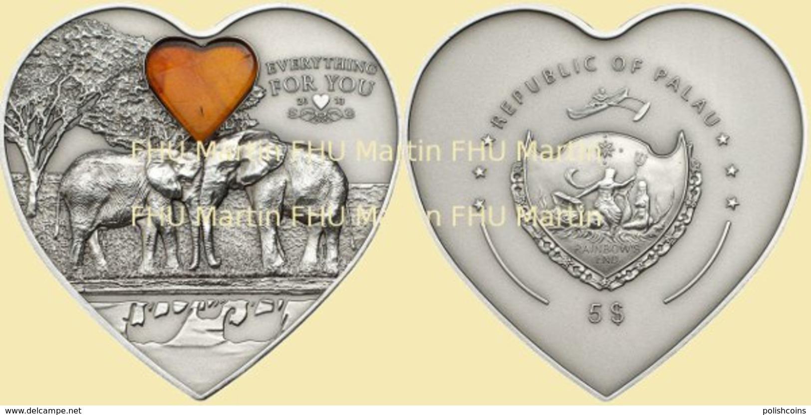 PALAU 2013 5 $ Dollars ELEPHANTS Everything For You 1oz Ag CoA UNC - Palau