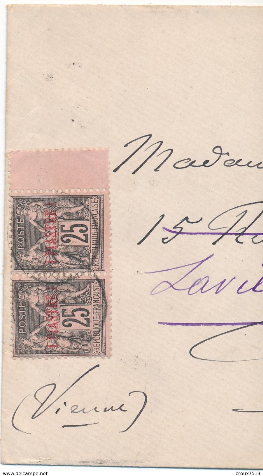 1887 Constantinople-Stambul à Poitiers Affr Sage Surchargé 1 Piastre X 2 TB. - Levant (1885-1946)