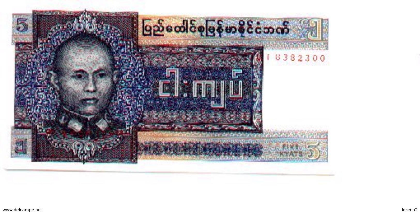 Billete Burna. P-57. 5 Kyat. (ref. 6-418) - Billetes