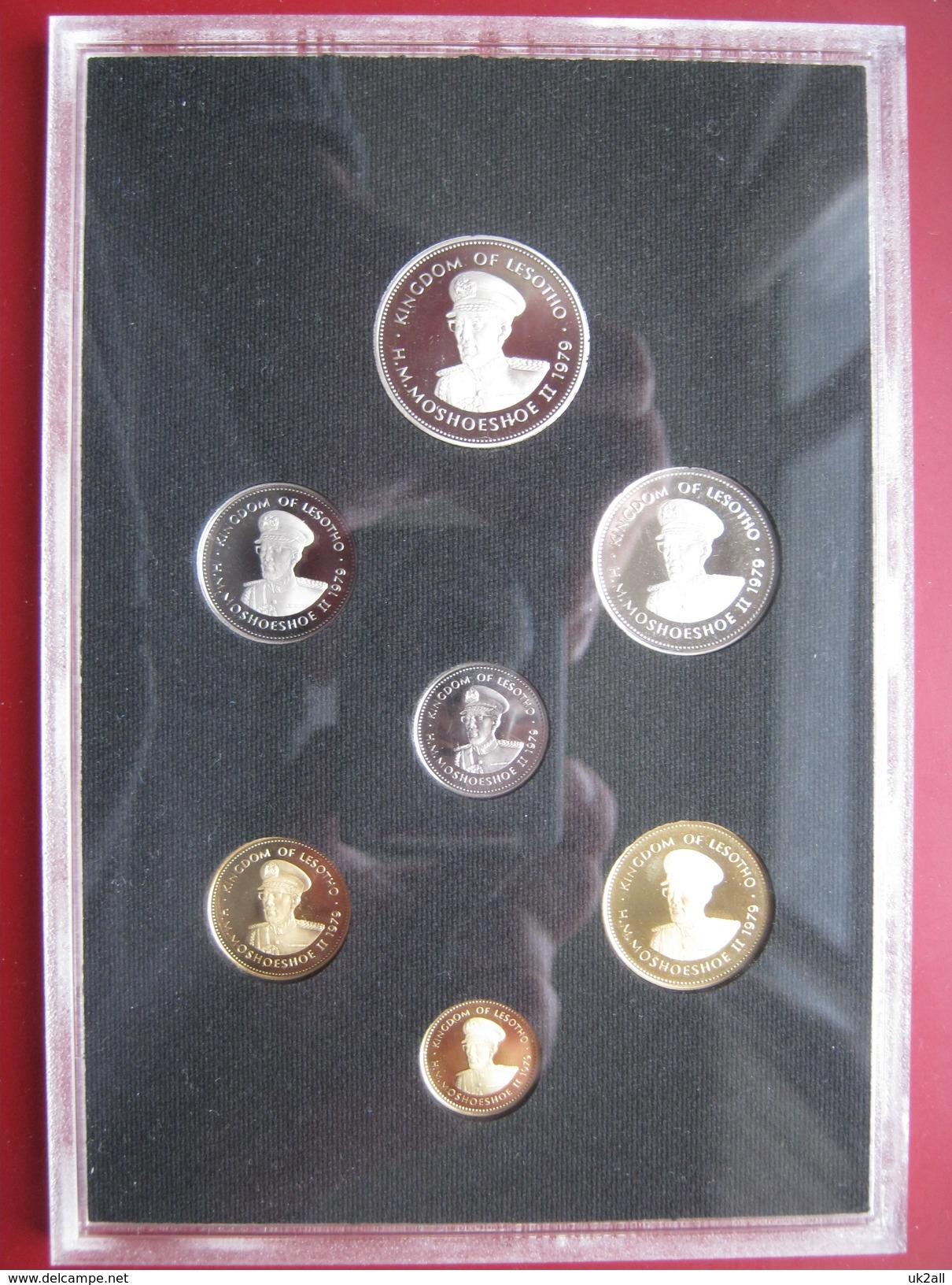 Lesotho 1979 7 Coin Set Proof Royal Mint 1 Lisente - 1 Loti Cased Cased Envelope - Lesotho