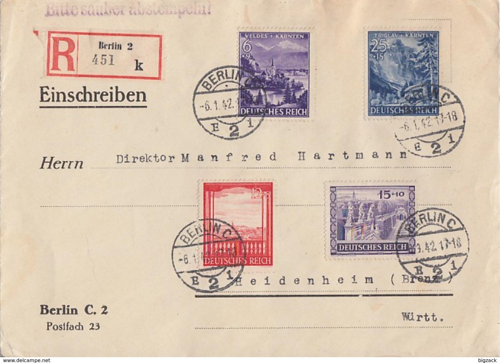DR R-Brief Mif Minr.804,805,807,809 Berlin 6.1.42 - Allemagne