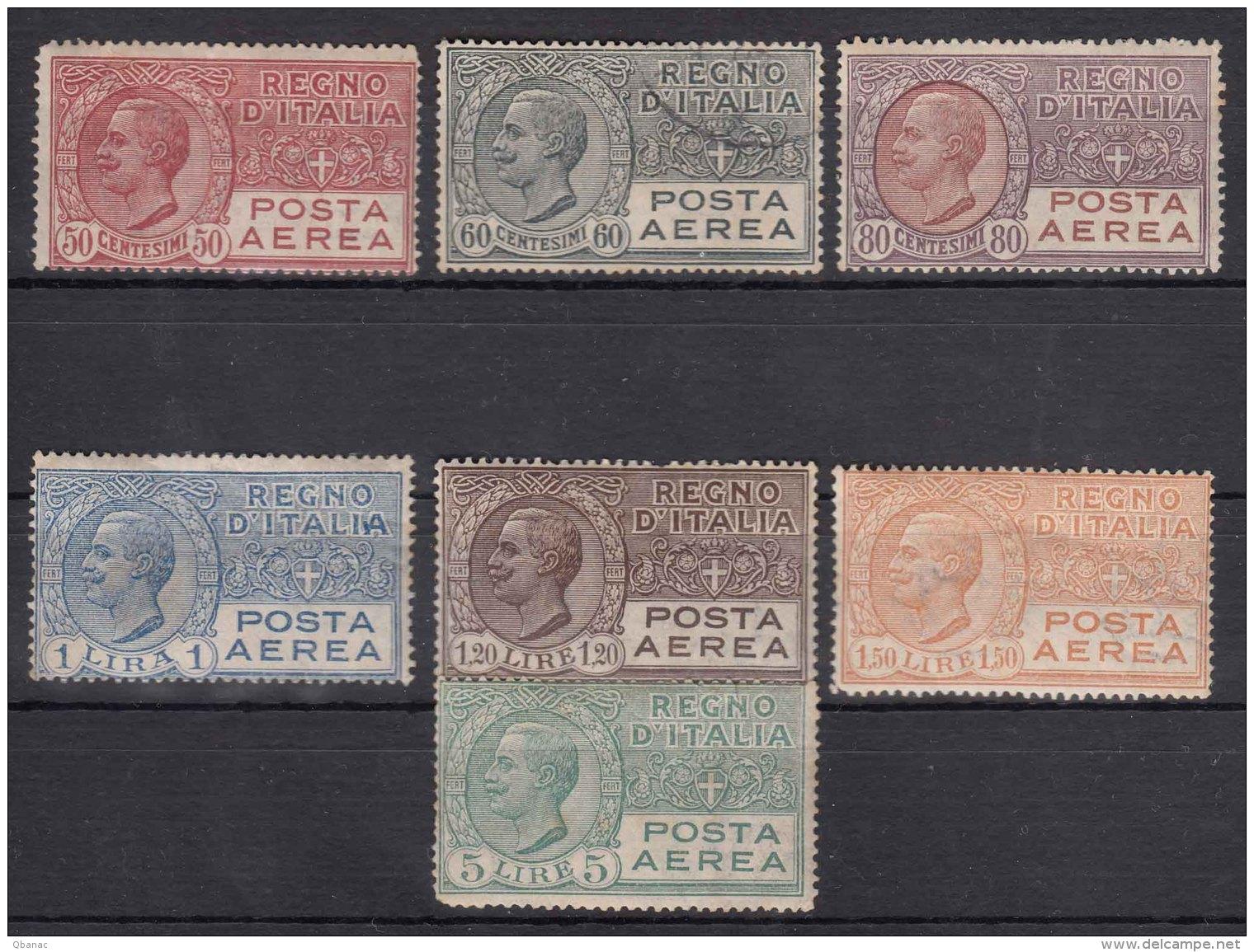 Italy 1926/1928 Posta Aerea Sassone#2A,3,3A,4,5,6,7 Mint Never Hinged (60c Used) - 1900-44 Vittorio Emanuele III