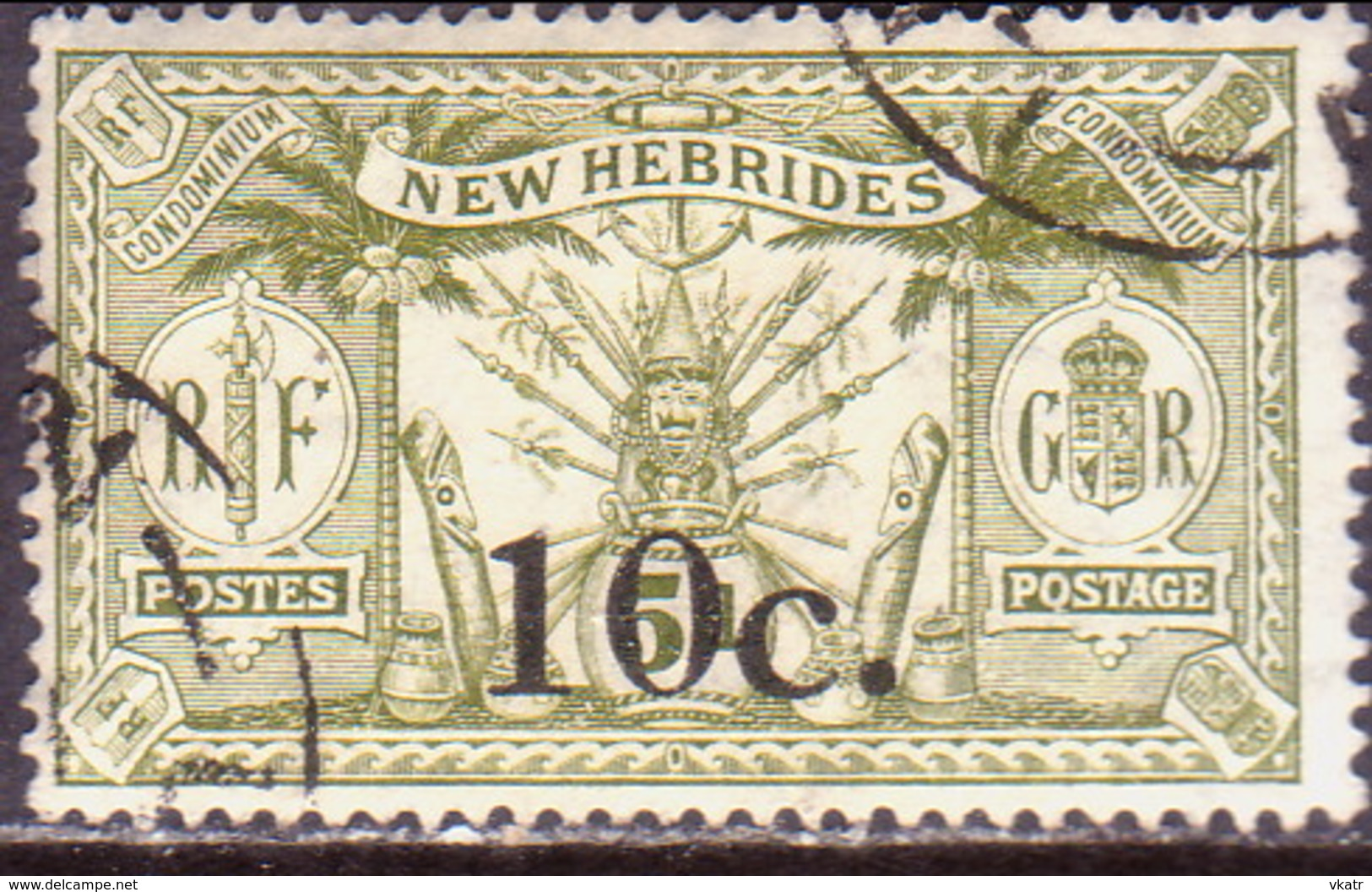 NEW HEBRIDES(French Inscr.) 1921 SG F37 10c On 5d Used CV £60 - French Legend