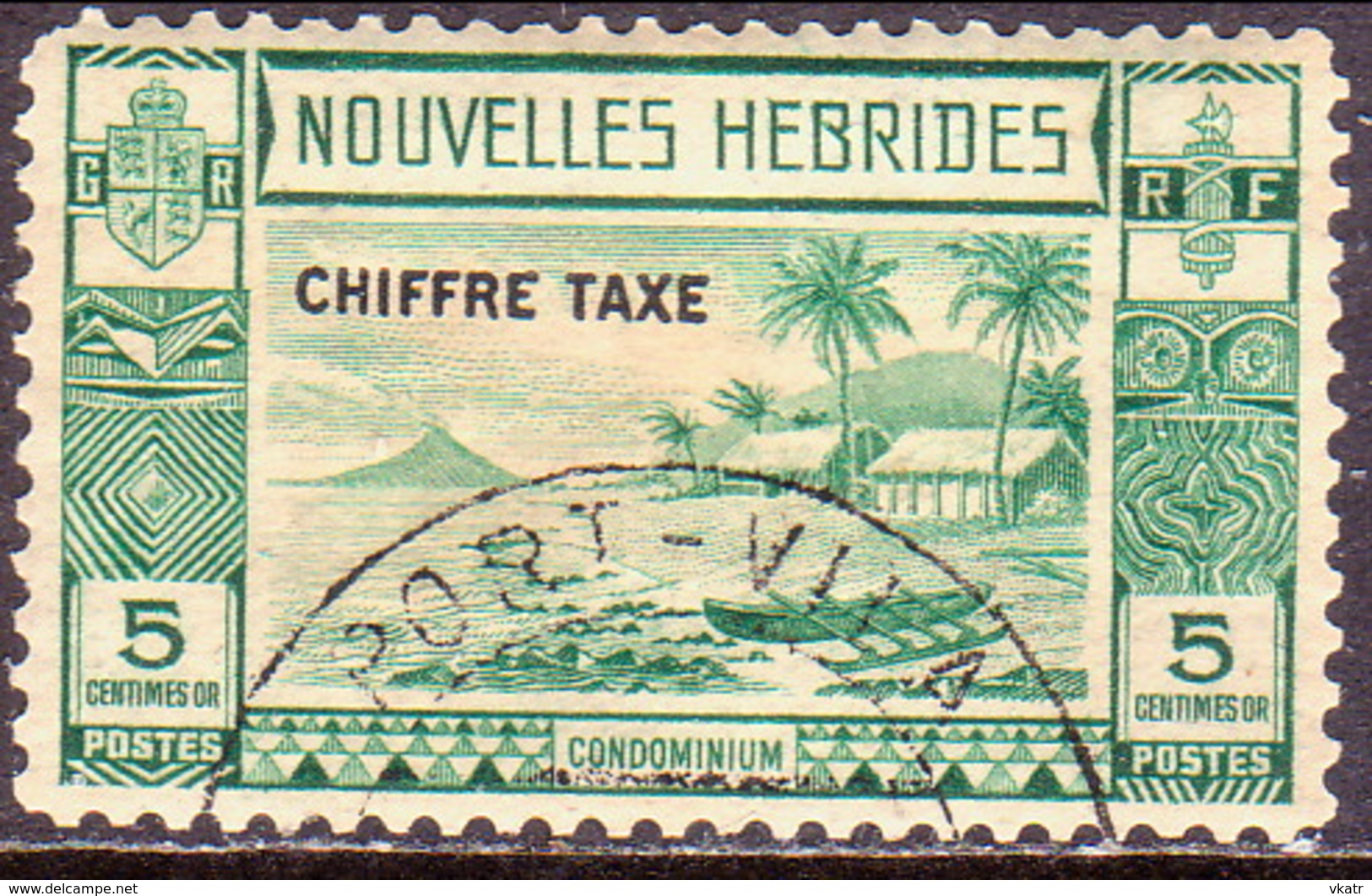 NEW HEBRIDES(French Inscr.) 1938 SG FD65 Postage Due 5c Used  CV £75 - Postage Due