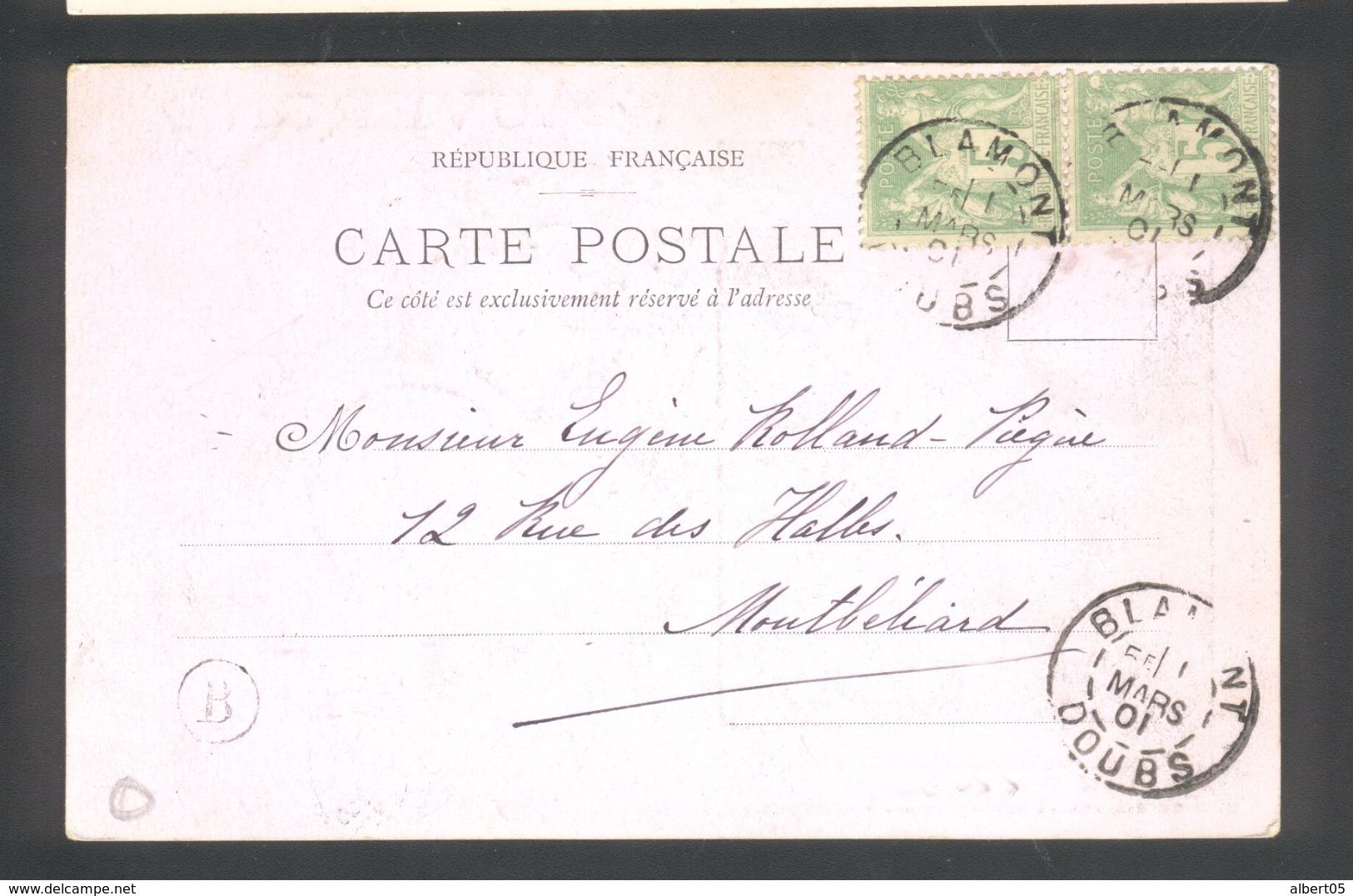 Carte Postale De Blamont  11 Mars 1901 Avec Paire 5c Sage Vert Jaune - Marcophilie (Lettres)